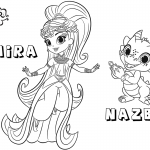 Shimmer and Shine Coloring Pages Princess Samira and Nazboo