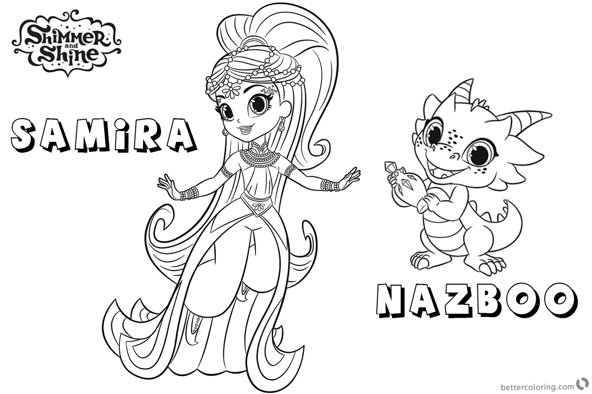 Shimmer And Shine Coloring Pages Princess Samira And