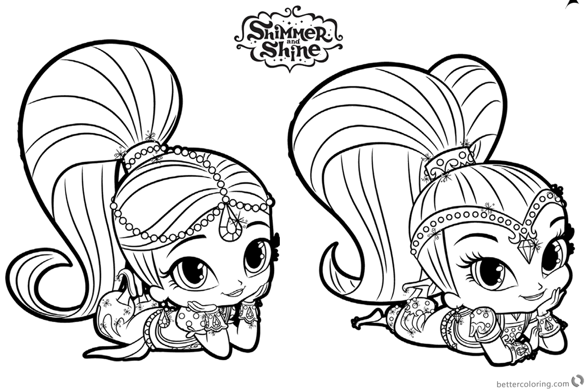 Shimmer and shine coloring pages rest on the floor free for Shimmer shine coloring pages