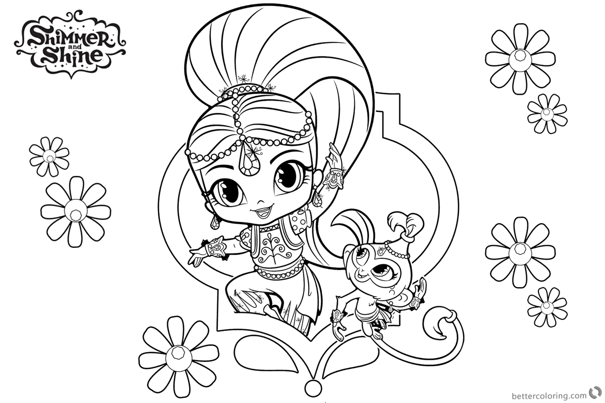 nickelodeon shimmer and shine coloring pages | Shine And Shimmer Coloring Pages Sketch Coloring Page