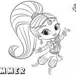 Shimmer and Shine Coloring Pages Shimmer is Dancing