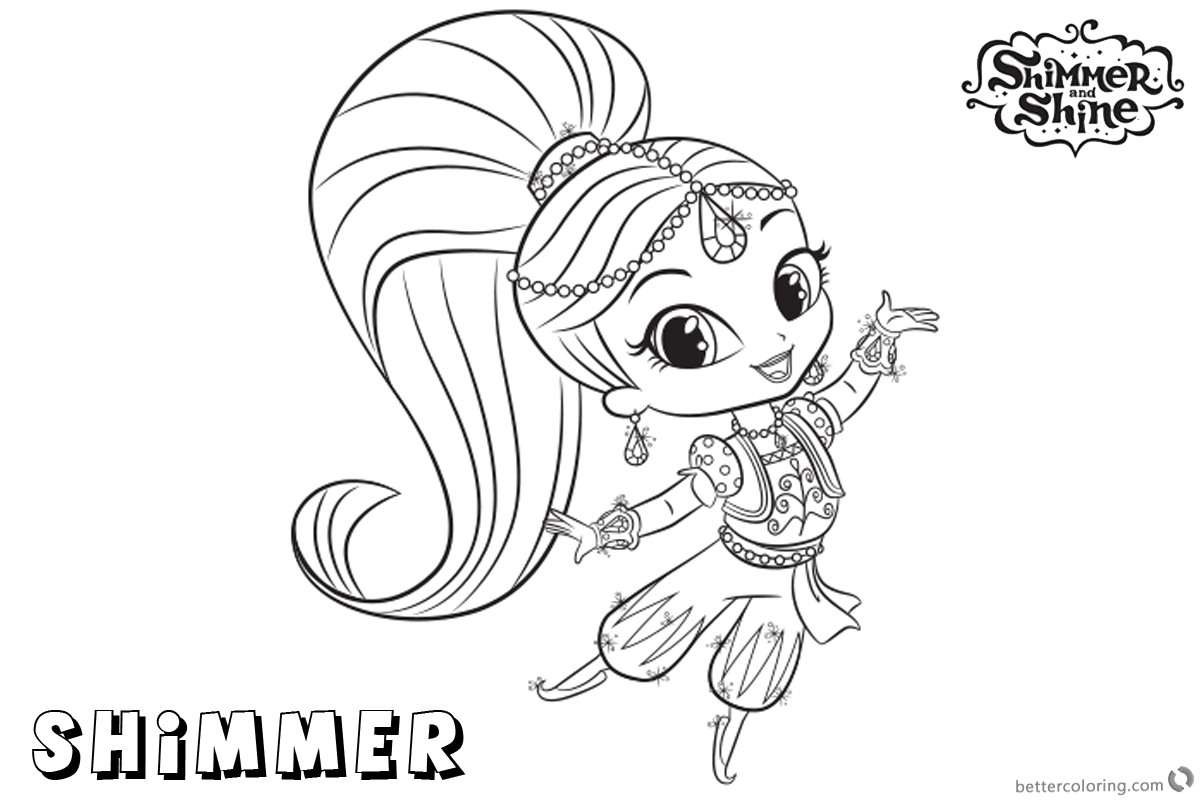 Free Shimmer and Shine Coloring Pages Shimmer is Dancing Printable