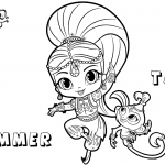 Shimmer and Shine Coloring Pages Shimmer with Pet Tala
