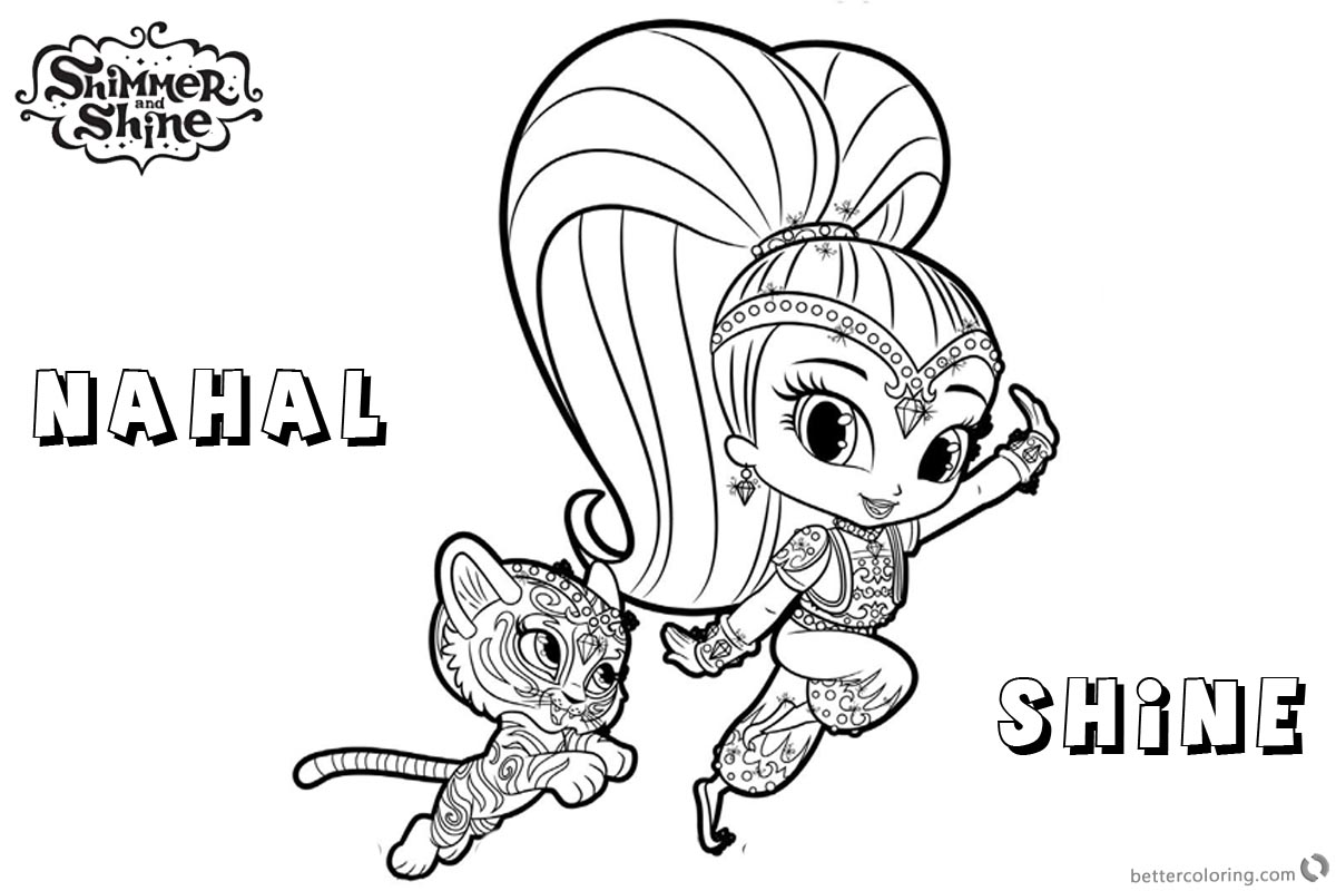 Free Shimmer and Shine Coloring Pages Shine and Nahal Printable