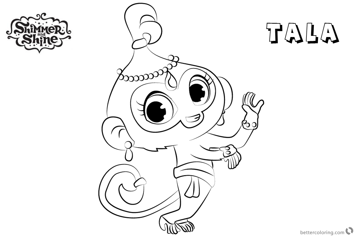 photo relating to Shimmer and Shine Coloring Pages Printable identified as Shimmer and Glow Coloring Internet pages Tala Clipart - No cost