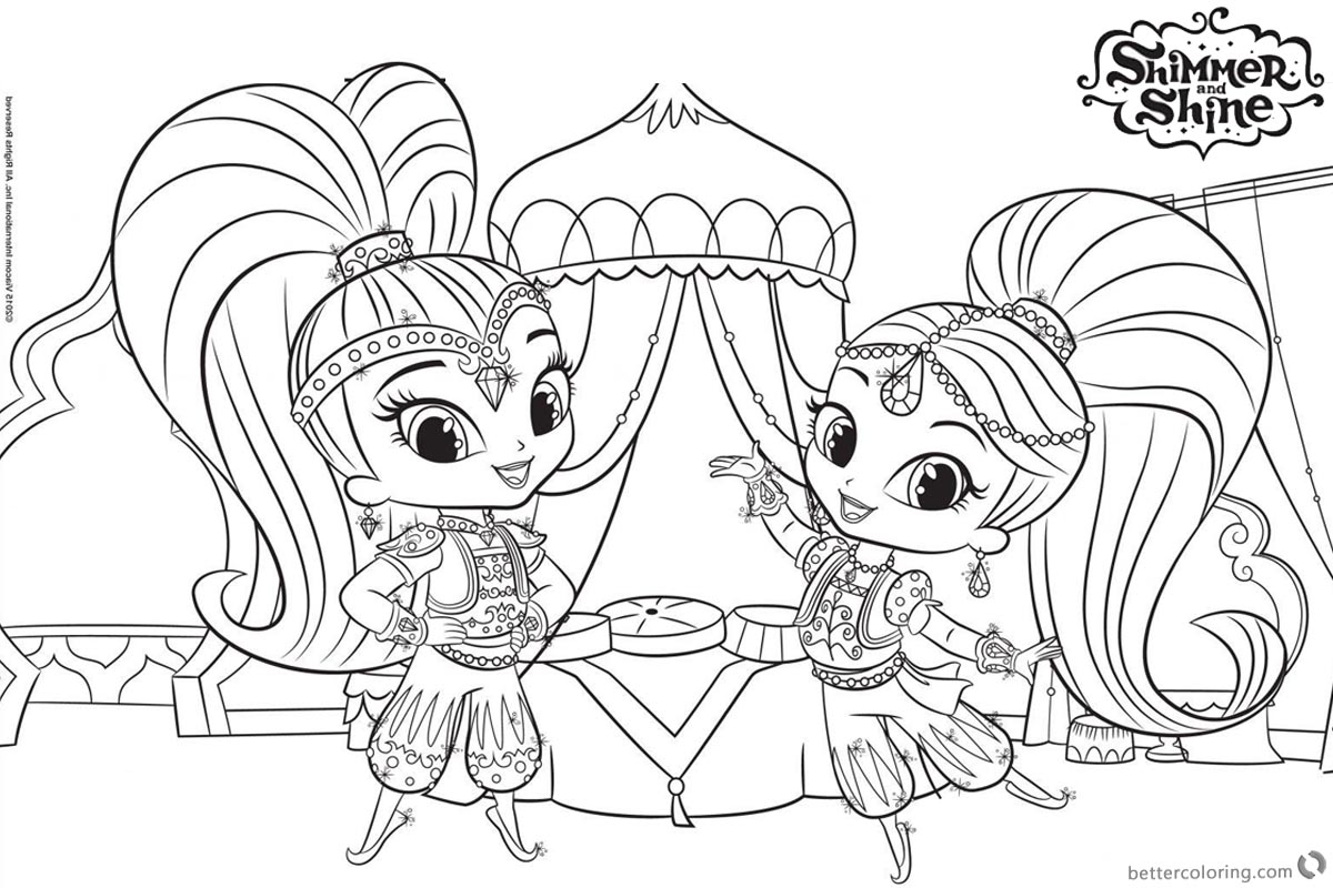 Shimmer And Shine Coloring Pages They Are Dancing