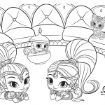 Shimmer and Shine Coloring Pages lying on their stomach