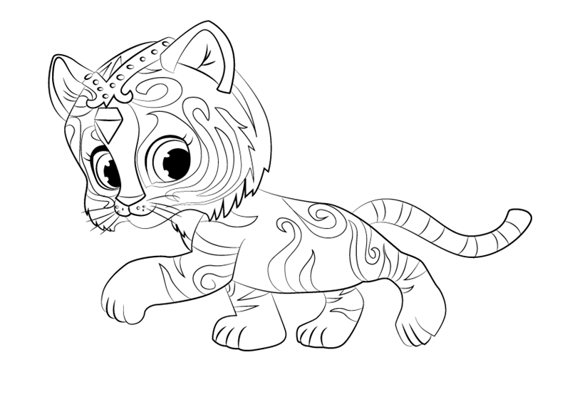 Shimmer and Shine Coloring Pages Cute Tiger Nahal Free