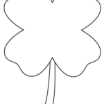 Simple Four Leaf Clover Coloring Pages for good luck