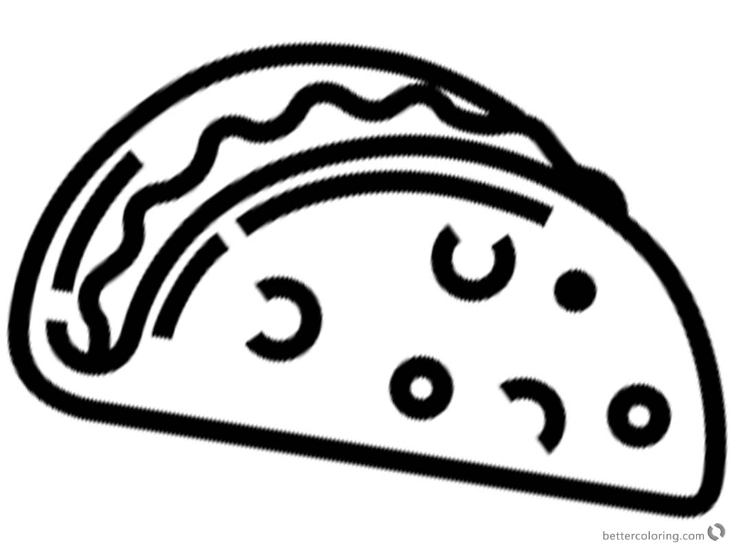 Simple Taco Coloring Page for Preschool Kids printable