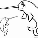 Smile Cartoon Narwhal Coloring Pages