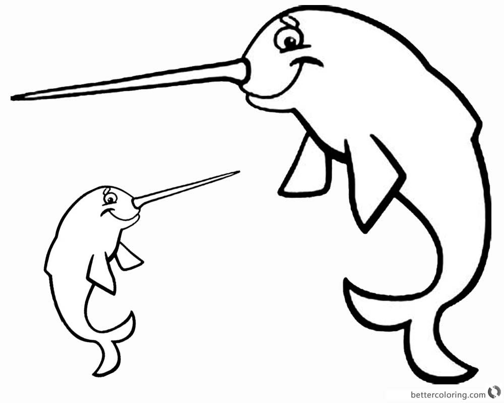 Smile Cartoon Narwhal Coloring Pages printable
