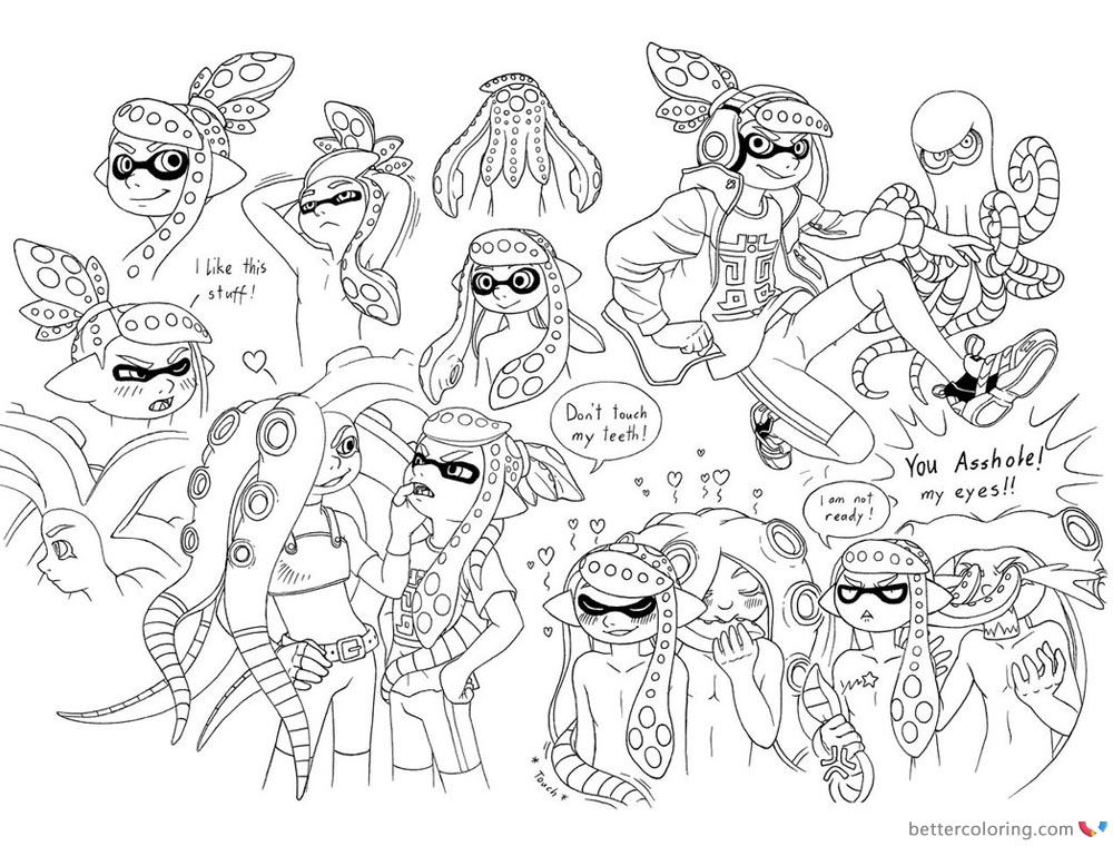 Splatoon Coloring Pages Characters Lineart by megaloceros_urhirsch printable