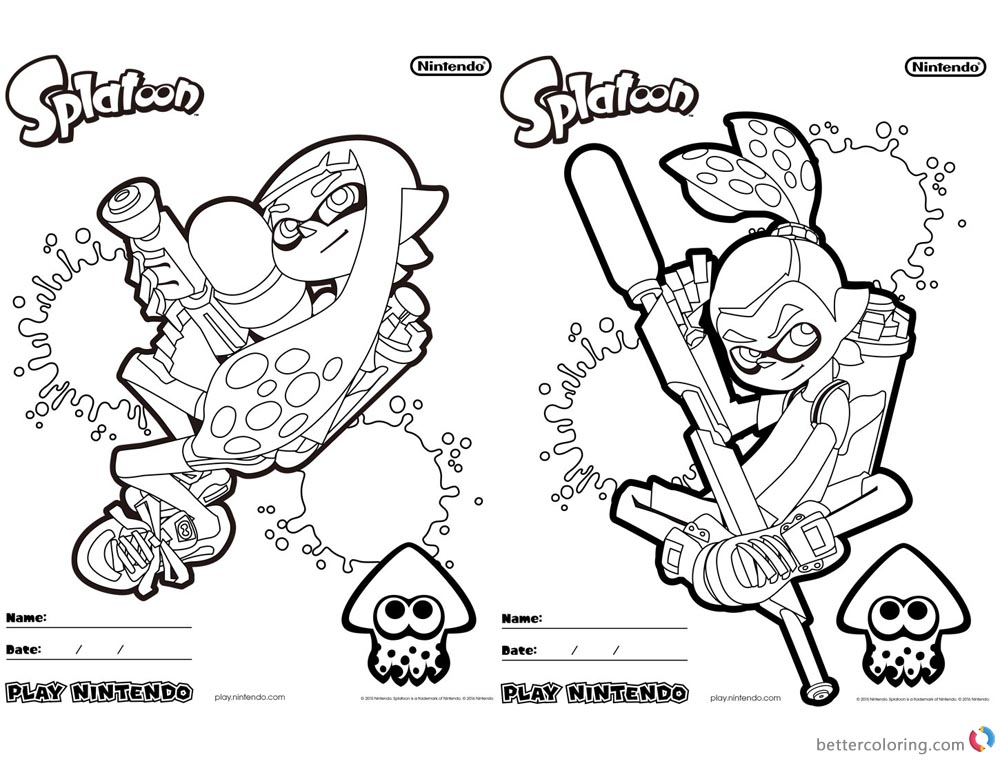 Splatoon Coloring Pages Coloring Sheet printable