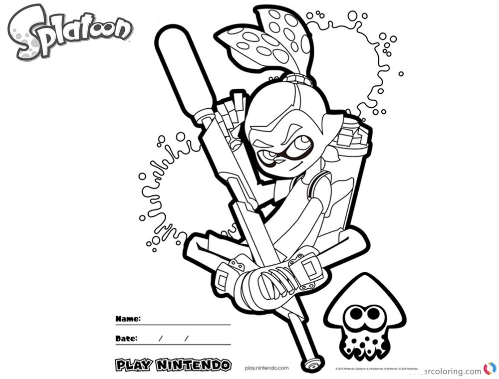 Splatoon Coloring Pages Inkling Coloring Sheet printable