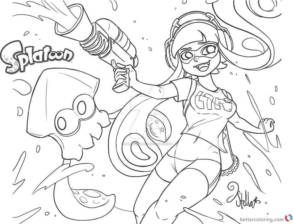 Splatoon Coloring Pages Inkling Fan Drawing by ...