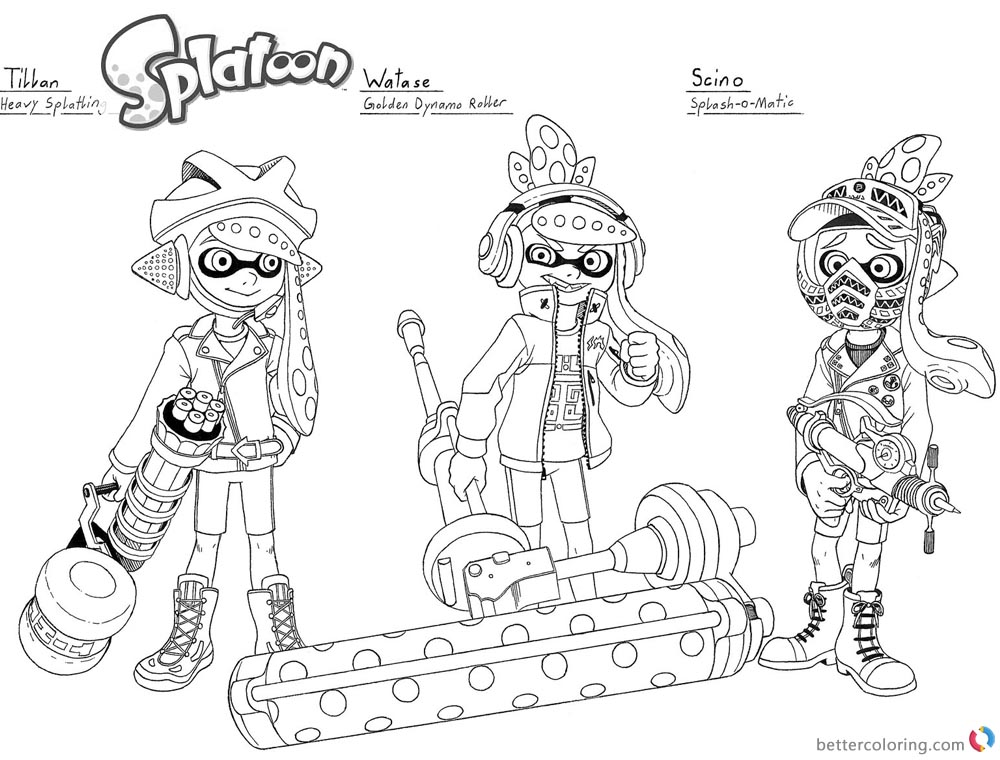 Splatoon Coloring Pages Oc lineart by megaloceros_9 printable