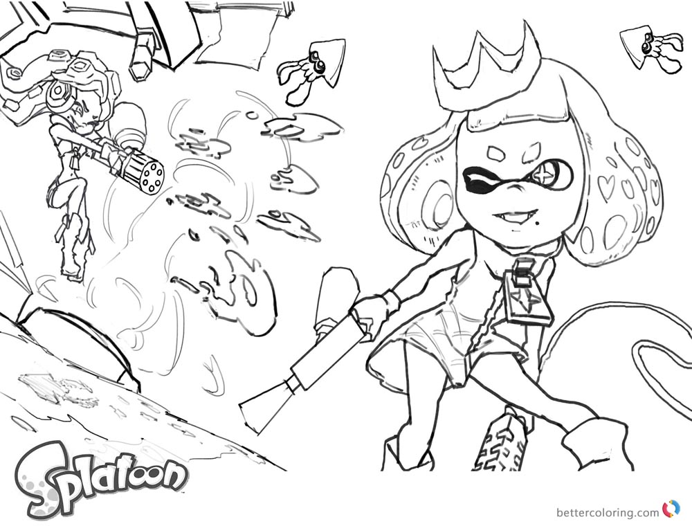 Splatoon coloring pages sketch by xiong chenwen free for Splatoon coloring pages