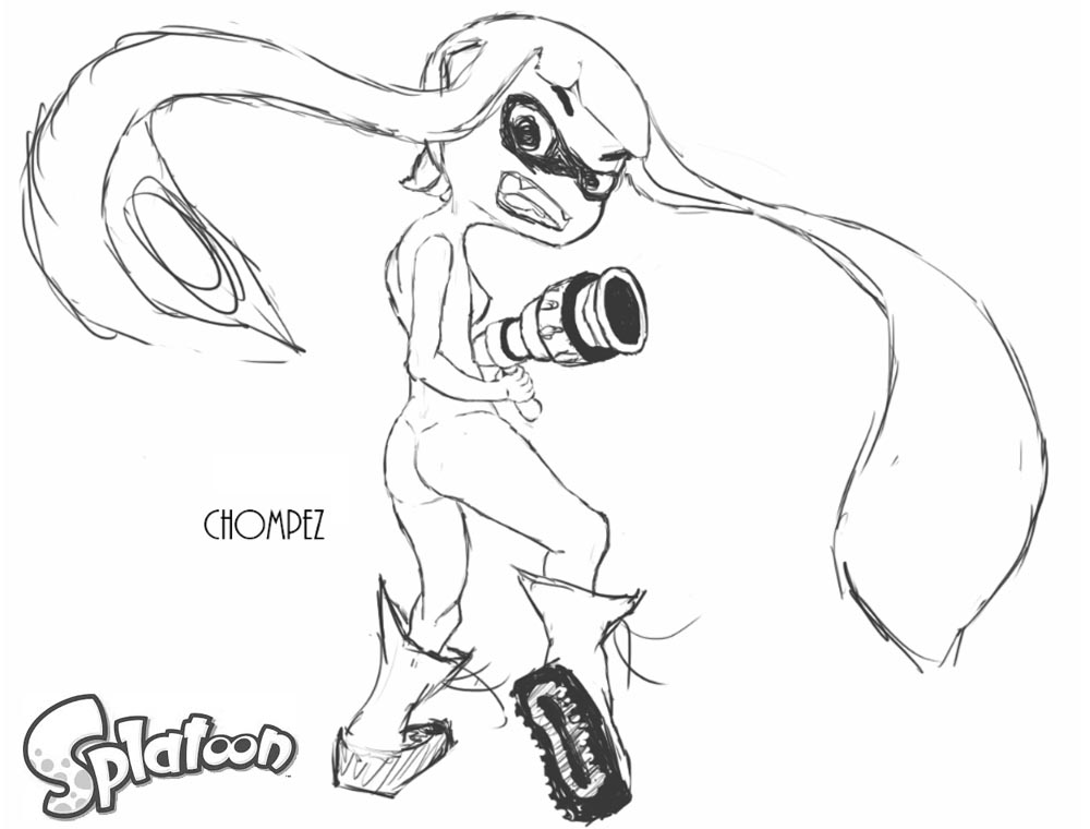 Splatoon Coloring Pages Splater Girl Sketch by chompezz printable