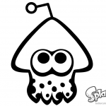 Splatoon Coloring Pages Squid Black and White