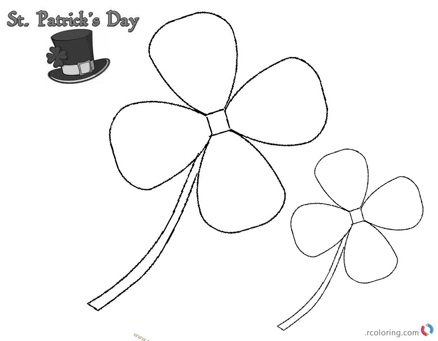 St Patric Day Four Leaf Clover Simple Art printable