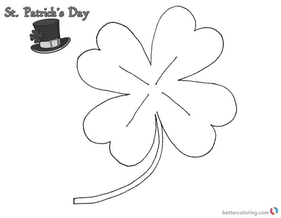 download this coloring page - Four Leaf Clover Printable