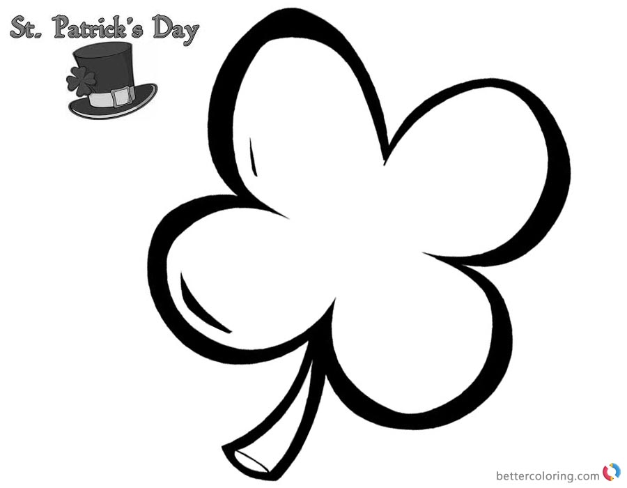 St Patric Day coloring pages four leaf clover picture printable