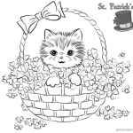 St Patrick Day Shamrock coloring pages Cute kitten