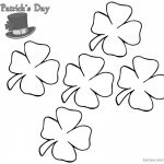 St Patrick Day Shamrock coloring pages five flowers