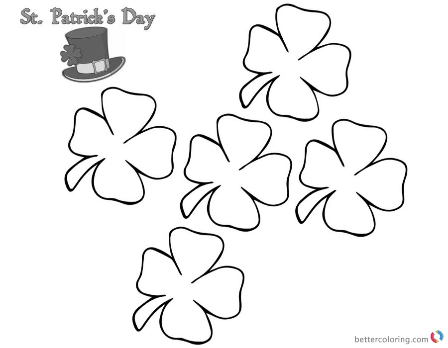 St Patrick Day Shamrock coloring pages five flowers printable