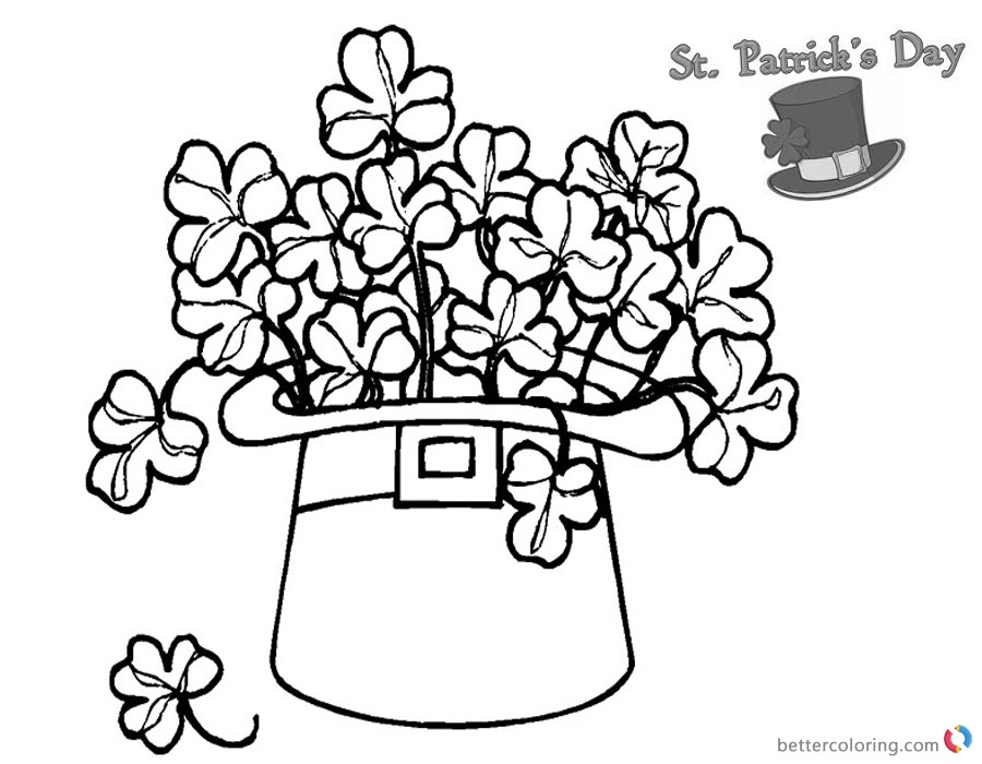St Patricks Day Shamrock coloring pages flowers in hat - Free ...
