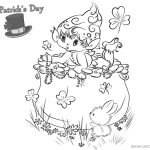 St Patricks Day coloring pages shamrocks and cute leprechaun