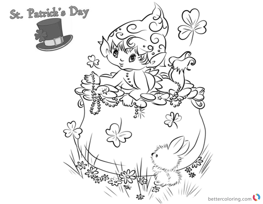 St Patricks Day coloring pages shamrocks and cute leprechaun printable