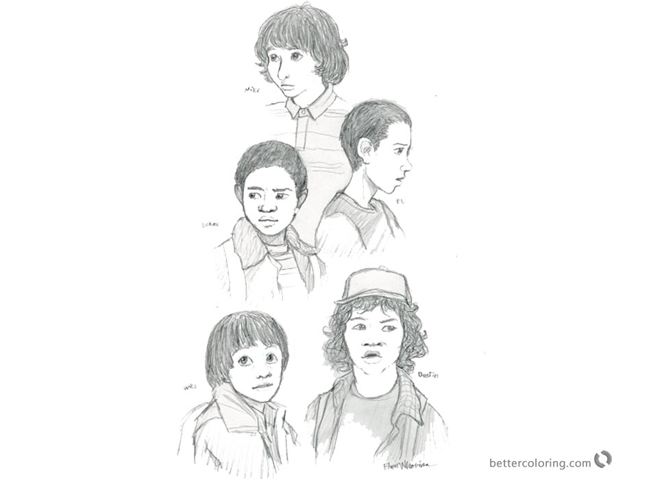 Stranger Things Coloring Pages Characters Sketch printable