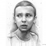 Stranger Things Coloring Pages Eleven Art Portrait Upside