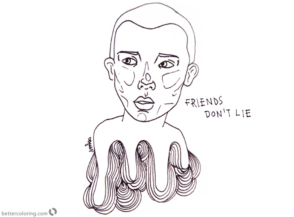 Stranger Things Coloring Pages Eleven Friends Don\'t Lie - Free ...