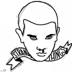Stranger Things Coloring Pages Eleven Head lineart