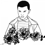 Stranger Things Coloring Pages Eleven Outline by emmidy