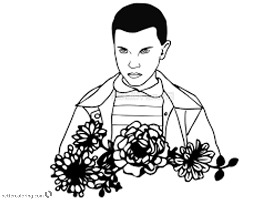 Stranger Things Coloring Pages Eleven Outline by emmidy printable