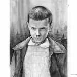 Stranger Things Coloring Pages Eleven Portrait Black and White Version