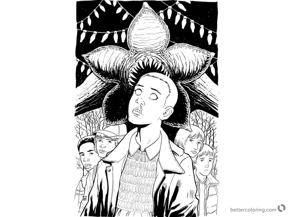 Stranger Things Coloring Pages Eleven and monster art printable