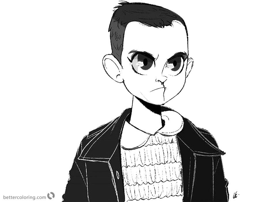 stranger things coloring pages eleven cartoon art free printable