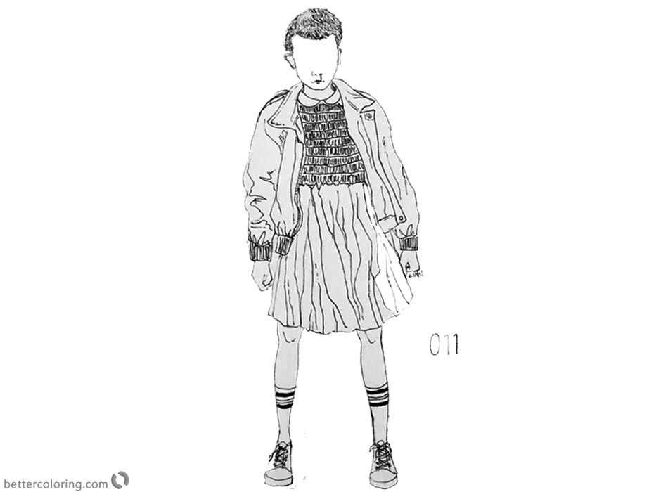 Stranger Things Coloring Pages Eleven no face printable