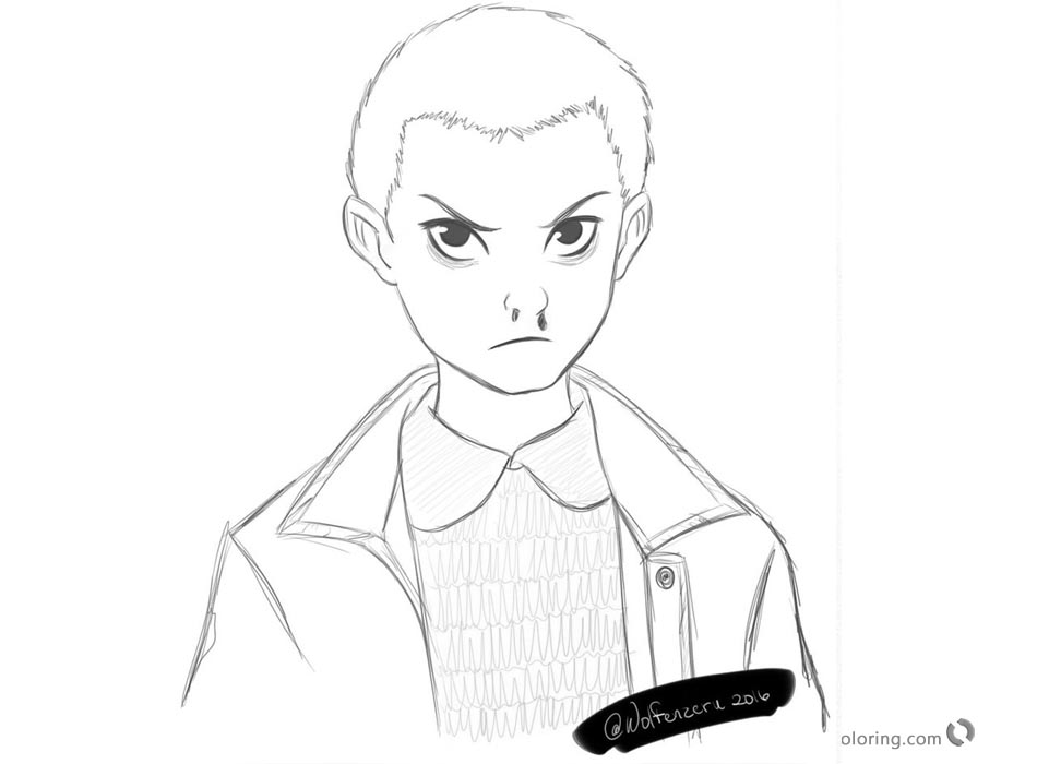 Stranger Things Coloring Pages Eleven Sketch By