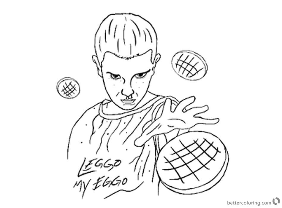 Stranger Things Coloring Pages Eleven work by Nate Farro printable