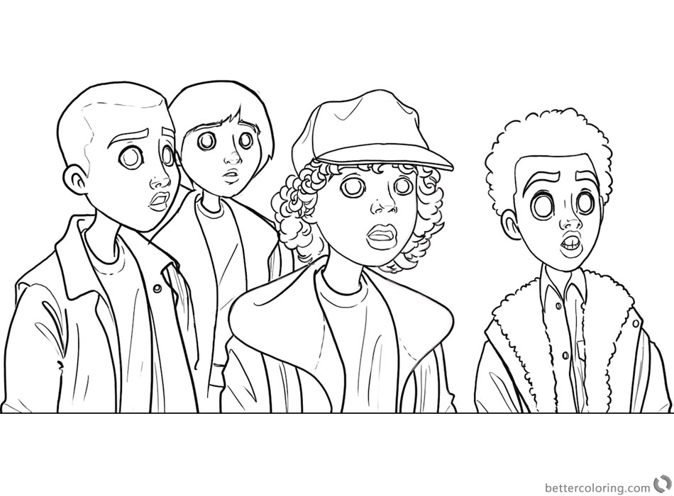 Stranger Things Coloring Pages Kids art by diana david printable
