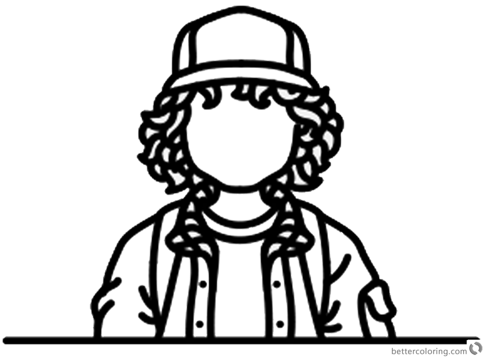 Stranger Things Coloring Pages No Face Dustin Henderson printable