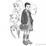 Stranger Things Coloring Pages art by Erin Kubo – Eleven, Joyce Byers, Nancy Wheeler, Jonathan Byers
