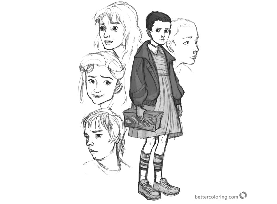 Stranger Things Coloring Pages art by Erin Kubo – Eleven, Joyce Byers, Nancy Wheeler, Jonathan Byers printable
