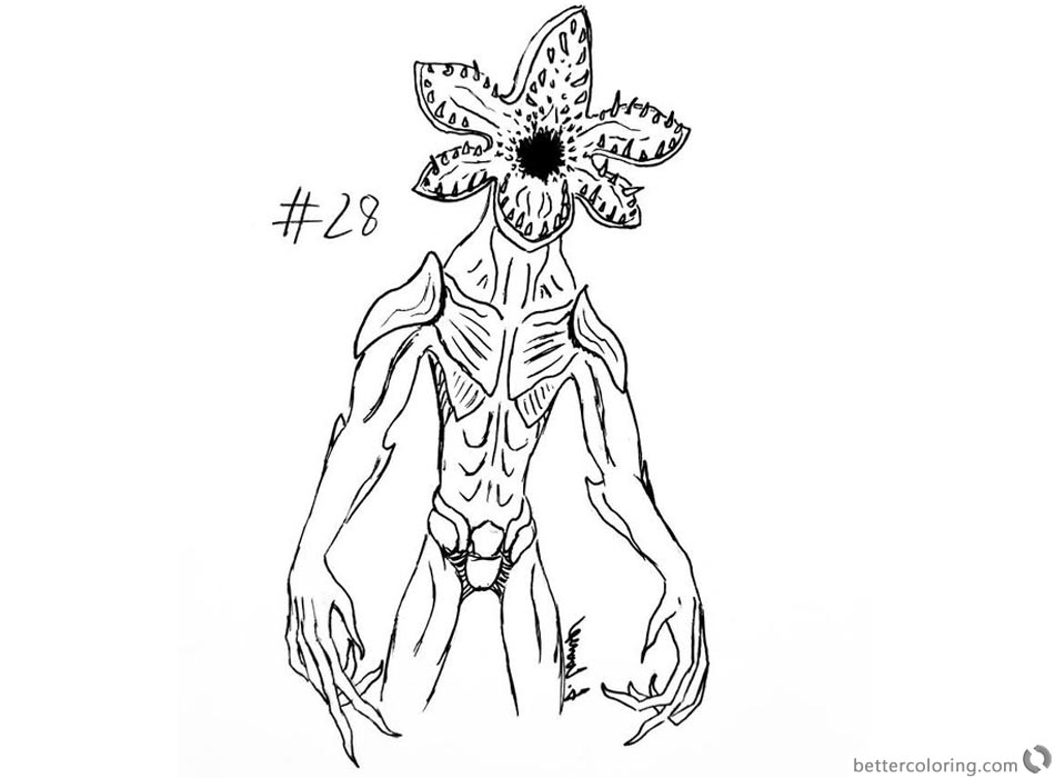 Stranger Things Coloring Pages inktober demogorgon by thecoondog ...